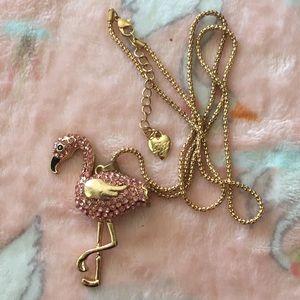 Betsey Johnson Gold Tone Pink Flamingo Necklace